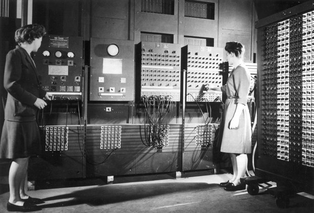 Image Credit: NPR, Shown: Jean Jennings (left) and Frances Bilas set up the ENIAC in 1946. Bilas is arranging the program settings on the Master Programmer.